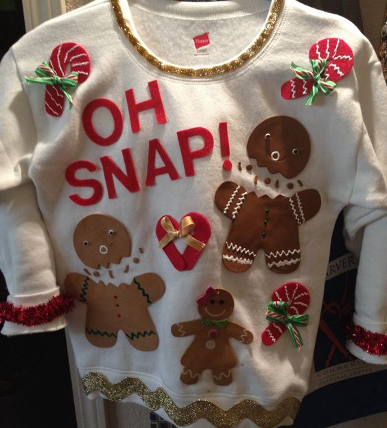 Gingerbread Sweater: If you are attending an ugly Christmas sweater party this year, we have got you covered! Here are 25 Ugly Christmas Sweater Ideas for you to use as inspiration.