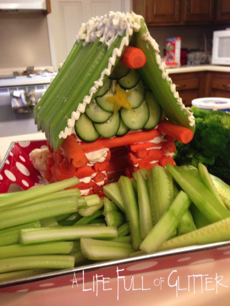 Cabin Veggie Tray: When you head out to your parties, make sure you have some great Christmas Party Food with you!