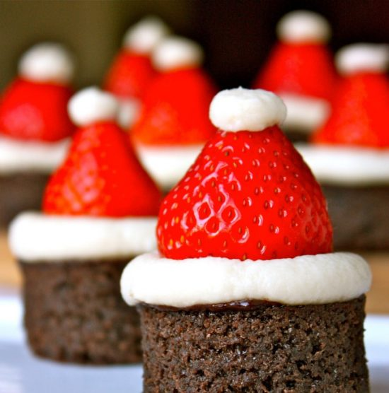 Santa Hat Brownies: When you head out to your parties, make sure you have some great Christmas Party Food with you!
