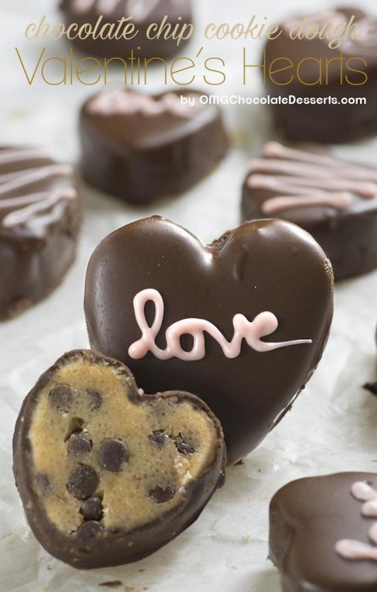 cookie dough valentines hearts