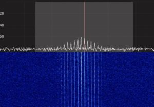 Signal as NOAA-18 is directly overhead (note 'lean' on waterfall)