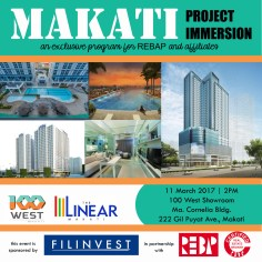 As part of REBAP-Filinvest UAS Unified Accreditation System, the partnership conducted Filinvest Makati Project Immersion last March 11, 2017 at 100 West Makati Showroom. This activity is a requirement for Manning Filinvest Booths focused on 100 West (Pre-selling) and The Linear (RFO) Makati projects.