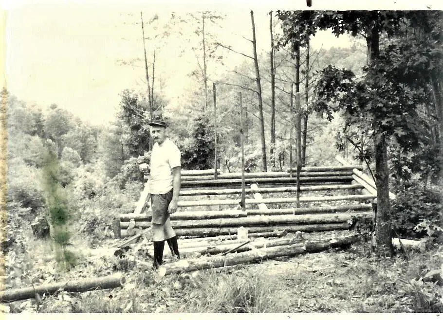 My father building his cabin