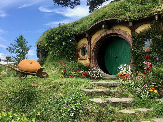 The Shire from the Lord of the Rings on the Hobbiton Movie Set. Photo credit: Brian