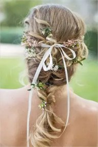2015 Wedding Trends -Wedding hair fishtail plait with flowers from Rebecca Loves Weddings www.rebeccaanderton.co.uk