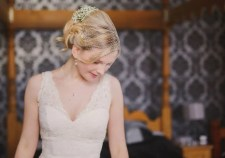 Boho bride with birdcage veil. Make up and hair by www.rebeccaanderton.co.uk