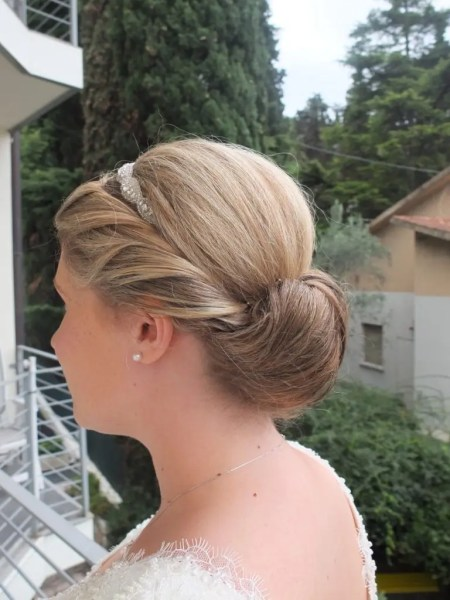 The elegent hairstyle I created for Sarah's wedding