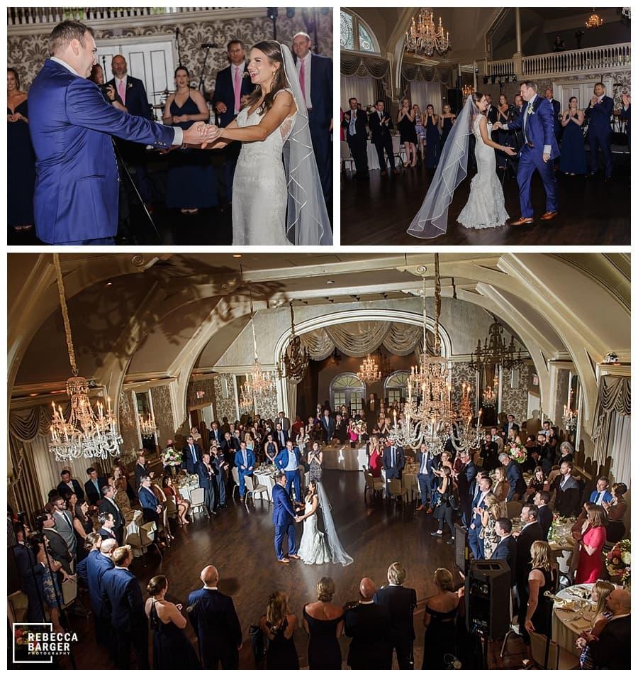 first dance photo in historic ballroom in philadelphia