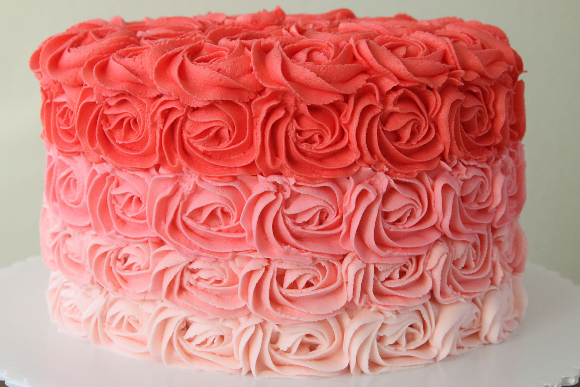 Pink Ombre Rose Cake Rebecca Cakes Amp Bakes