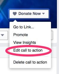 facebook donate now CTA button