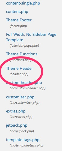 theme header in WordPress