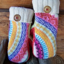 colorful wool mittens