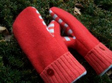 Orange cashmere Madawaska Mittens