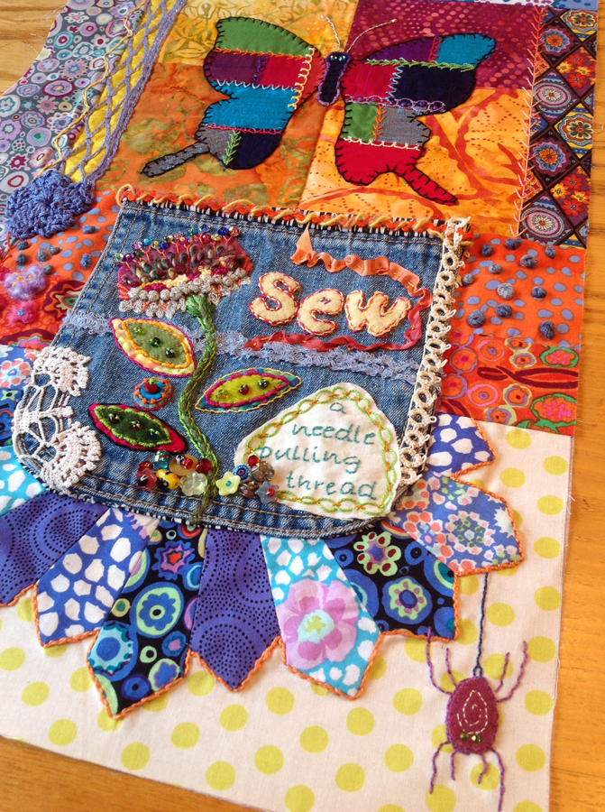 embellishment quilt with jean pocket