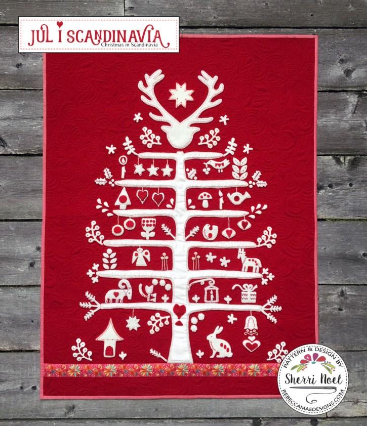 scandinavian applique Christmas tree pattern