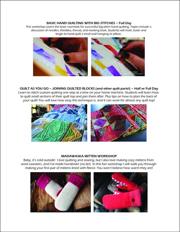 Sherri Noel, Rebecca Mae Designs workshop list