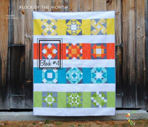 modern quilt block of the month in kona cotton