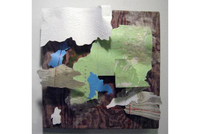 Altered Landscape 4: National, retired USGS maps, vinyl, handmade paper, etching embossments, wood grain prints, and acrylic on board, 12 x 12 x 2, 2007