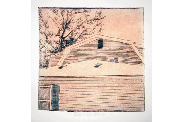 Geographic Geneology, Webster House 2 collagraph 8 x 8 2007