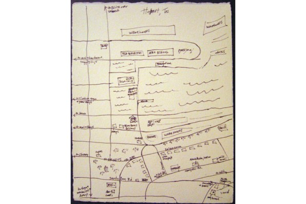 Mental Map: Hobart, Tasmania, ink on paper, 2004