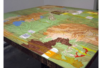 Strategy Mapping, retired USGS maps, wood grain prints, vinyl, acrylic, paper clay, tree stump, board, 2007