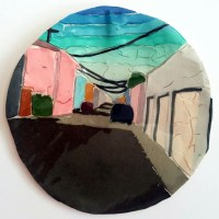 Round play-doh urban landscape painting with grays, pinks, a blue gradient sky, and hints of mustard.