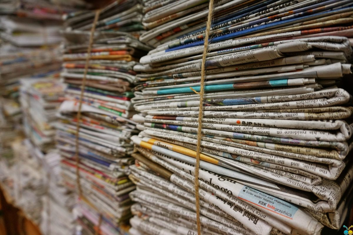 Bundle of newspapers.