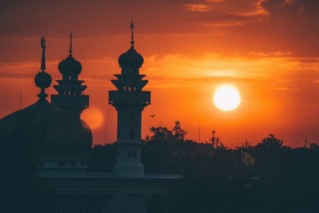 A mosque in the sunset.
