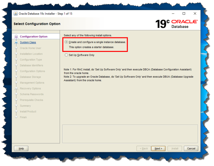 Oracle Database 19c - Screen 1 Configuration Option