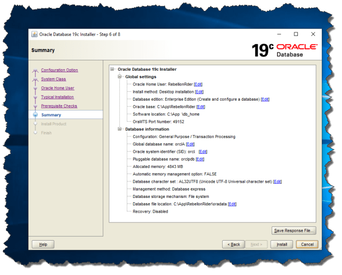 Oracle 19c Screen 6: Summary