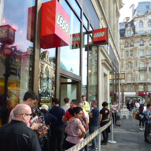LEGO Leicester Square launch for 75252 Imperial Star Destroyer set - queueing customers