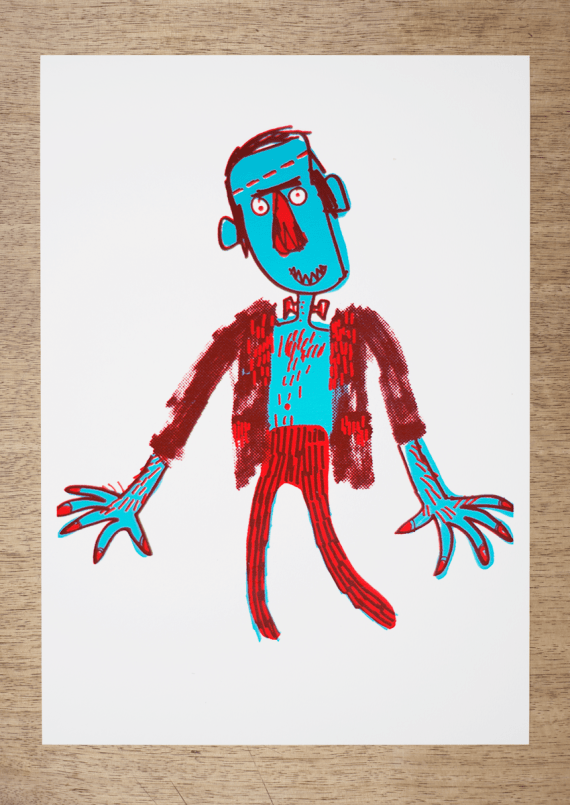 a screen print of an illustration of a monster frankenstein by mark beech