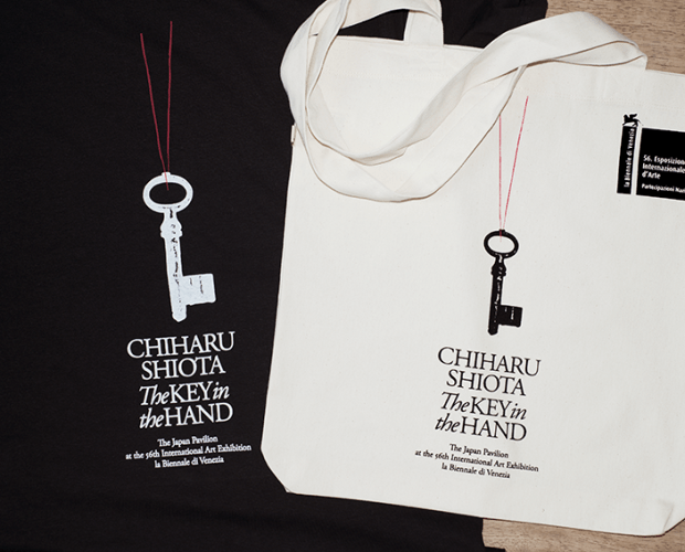 Hand printed tote bags for Chiharu Shiota, The Key in the Hand at the Venice Biennale 2015