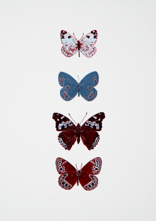 butterfly screen print in blue and red