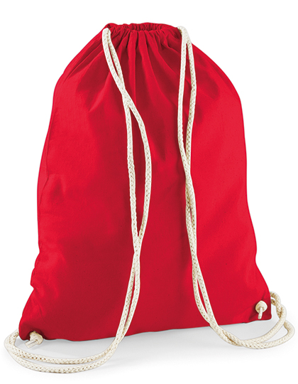 cotton gym sac in bright red, 12 litre cotton gymbags available blank or printed