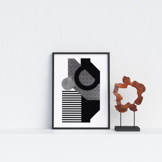 Minimal Geometric Affordable Wall Art. Screen printed Bauhaus style print.