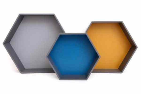 Set of 3 Wooden Hexagon Shelves