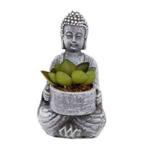 Artificial Succulent Plants In Pot Sitting Meditating Buddha