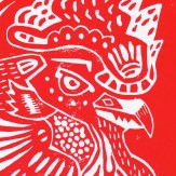 Linoprint Red Detail