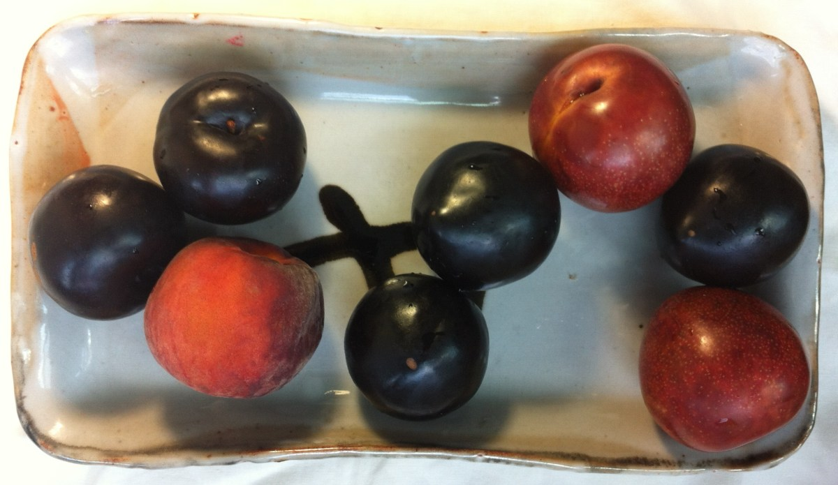 plums and a peach on a rectangular plate