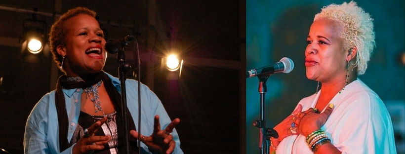 two photos of Katt Tait singing on stage
