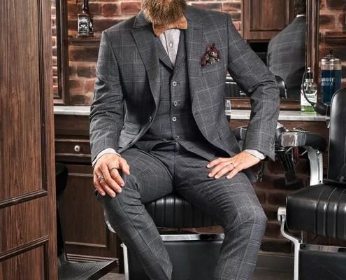 Herren Business Casual dreiteiliger Anzug Karo mit Revers-Weste