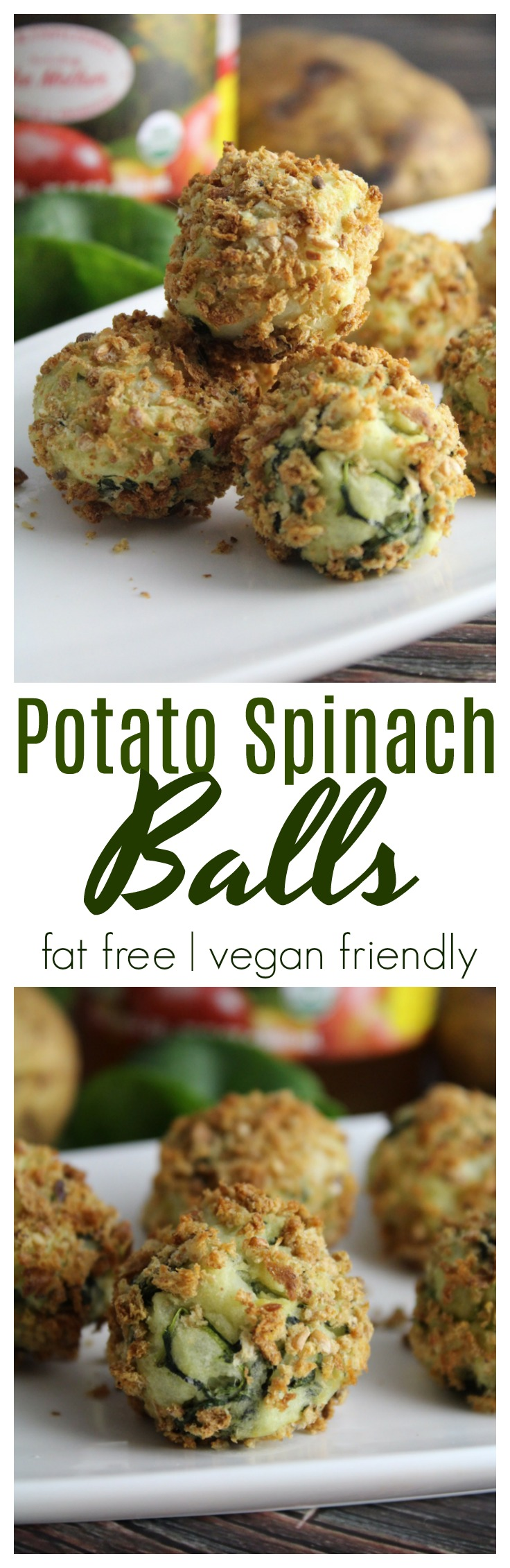 Crunchy on the outside, and creamy on the inside, these Potato Spinach Balls are fat free and the perfect appetizer!