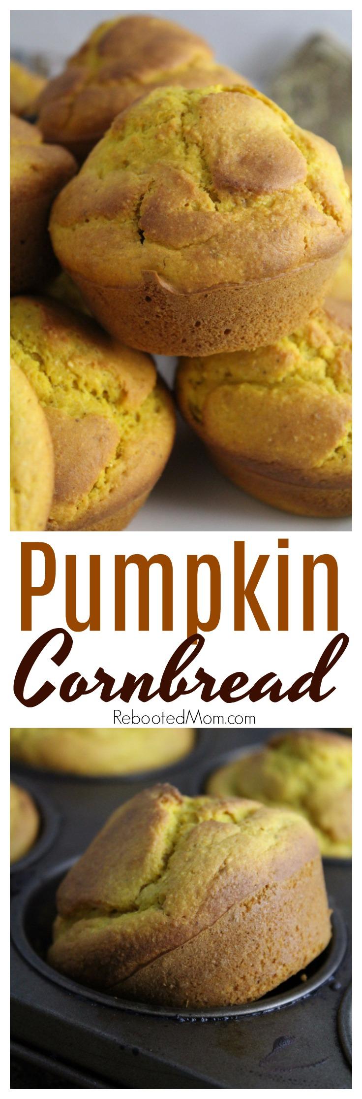 Put a delicious autumn spin on traditional cornbread with these pumpkin cornbread muffins.  #pumpkin #cornbread