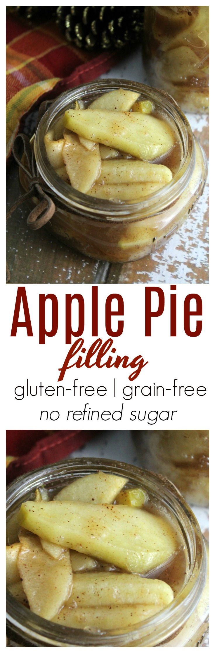 A deliciously easy recipe for homemade apple pie filling that doesn't rely on refined sugar! This filling is grain-free and comes together quickly!