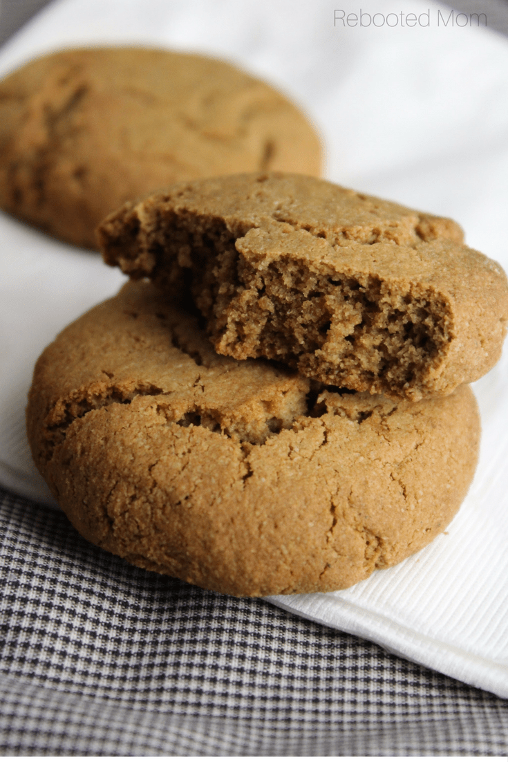 Soft and chewy ginger cookies that are gluten-free, grain-free and refined sugar free.  A perfect guilt-less way to enjoy the holiday season!   #cookies #gluten-free #grain-free