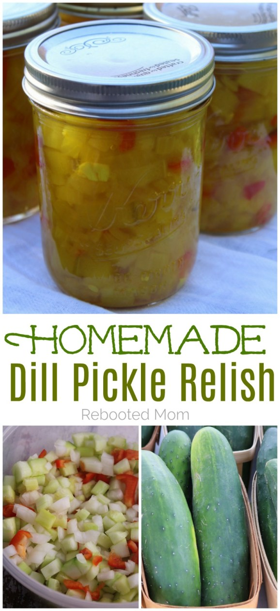 Enjoy this delicious homemade dill pickle relish alongside baked potatoes, potato salad, on your sandwich, or topped on a freshly grilled hamburger! #dill #relish #cucumbers