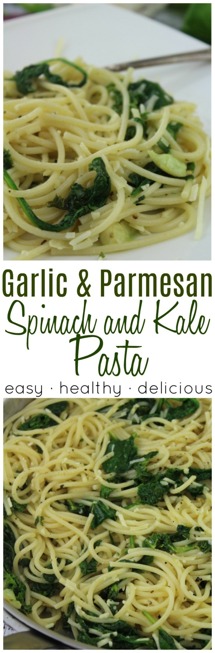 An incredibly delicious meatless meal that is simple on ingredients but BIG on flavor!    #meatless #spinach #kale #healthy #pasta