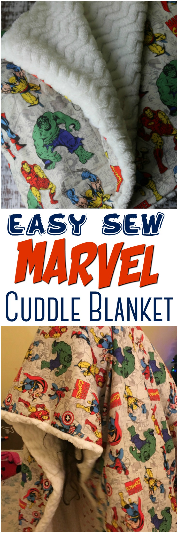 Superhero Novelty Cuddle Blanket: A custom superhero novelty cuddle blanket is the perfect gift for kids of all ages! Grab your fabric and follow this easy-sew DIY! #sewing #cuddleblanket #marvel #superhero #gift #handmadegift #blanket