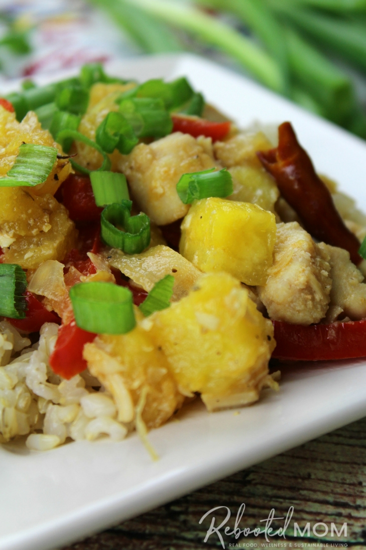 Simple, healthy ingredients come together quickly and easily to make this flavorful Hawaiian Chicken - perfect on rice, cauliflower rice or just on it's own! #grainfree #glutenfree #chicken #healthy #easydinner #hawaiian